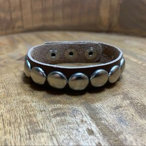 NEW Brown Leather Silver Tone Bracelet